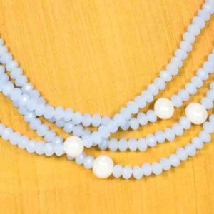 Celeste cristal and pearls necklace