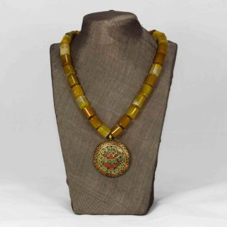 Yellow agate necklace with brass pendant iroiroart yellow agate necklace with brass pendant aloadofball Images