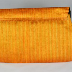 Raw silk and organza baguette bag