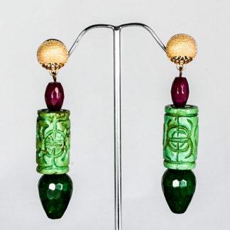 Pendientes de turquesa y ágatas verdes