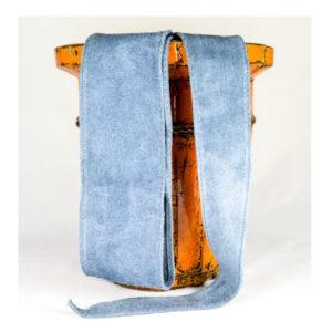 Cinturón de ante gris azulado