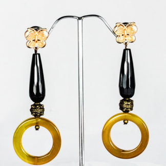 Yellow and black Agates earrings
