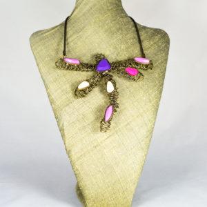 Collar libélula rosa morada