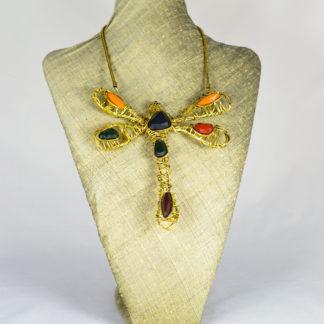 Collar libélula verde marrón