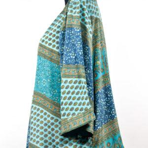 Kimono de seda turquesa celeste y beige