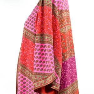 Kimono de seda rojo y rosa