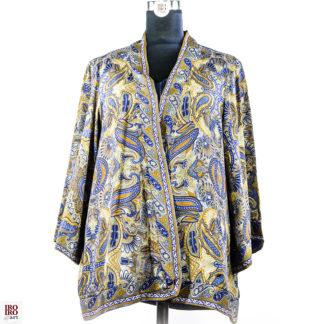 Kimono verde azul y mostaza