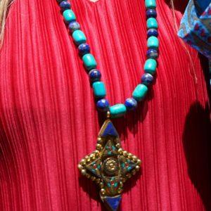 Collar largo de lapislázuli y turquesa 01 iroiroart.com