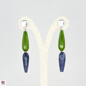 Pendientes de ágatas verdes y azules