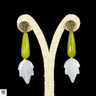 Pendientes ágatas verdes y blancas