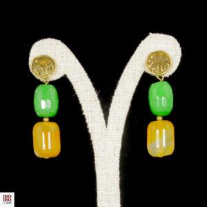 Pendientes de ágatas verdes y amarillas