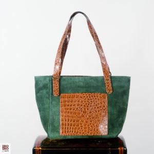 Bolso de ante verde bolsillo print cocodrilo