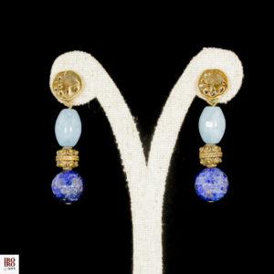 Pendientes de lapislázuli y ágatas celestes