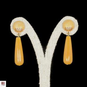 Pendientes de ágatas color mostaza