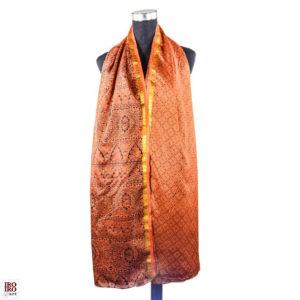 Pañuelo estampado naranja y dorado