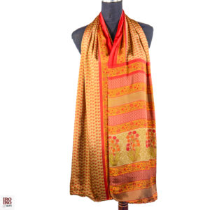 Pañuelo estampado dorado naranja y rojo