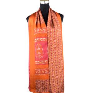 Pañuelo estampado naranja y rojo