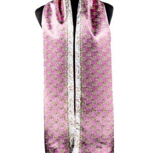 Pañuelo estampado rosa y beige