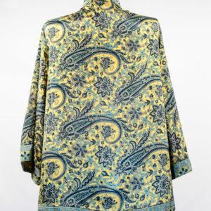 Kimono de seda amarillo con flores verdes