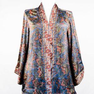 Kimono de seda gris