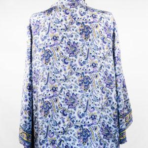 Kimono de seda celeste y azul marino