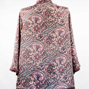 Kimono de seda rosa burdeos y verde