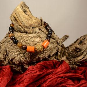 collar de ágatas marrones coral naranja y bronce 02 iroiroart.com