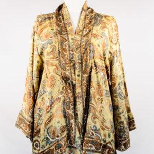 Kimono de seda amarillo y beige