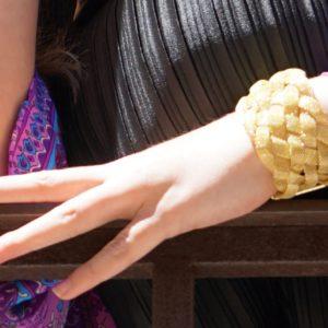 Pulsera trenzada dorada 01 iroiroart.com
