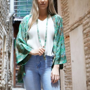 Kimono de seda verde 02 iroiroart.com