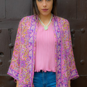 Kimono de seda rosa y morada