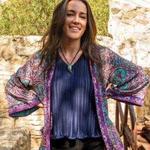 Kimono de seda turquesa azul y fucsia